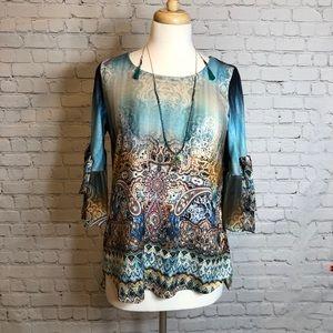 Shirt and Necklace Set One World Paisley Boho